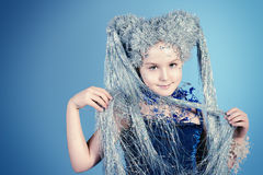 Fantasy girl. Portrait of a beautiful girl who looks like a little snow Queen Royalty Free Stock Photography