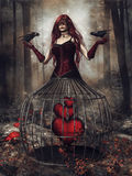 Fantasy girl with ravens and hearts Royalty Free Stock Images