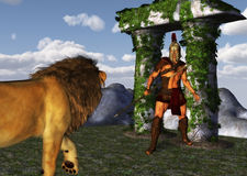 Fantasy Gladiator Warrior Versus Fearless Lion. A valiant warrior facing off the king of beasts lion Royalty Free Stock Photos