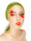 Fantasy. Glamor. Fashion Model in Green Shawl and Colorful Makeup Stock Images