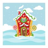Fantasy gnome house vector cartoon fairy treehouse and magic housing village illustration set of kids gnome fairytale. Pumpkin or stone playhouse for gnome royalty free illustration