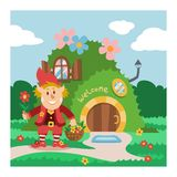 Fantasy gnome house vector cartoon fairy treehouse and magic housing village illustration set of kids gnome fairytale. Pumpkin or stone playhouse for gnome stock illustration