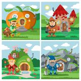 Fantasy gnome house vector cartoon fairy treehouse and magic housing village illustration set of kids gnome fairytale. Pumpkin or stone playhouse for gnome vector illustration