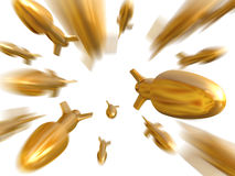 Fantasy gold bullets fly to camera Royalty Free Stock Images