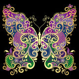 Fantasy gold-colorful butterfly Royalty Free Stock Image
