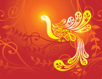 Fantasy golden bird Stock Image