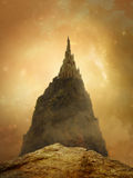 Fantasy golden castle. In the mountain with beautiful sky Royalty Free Stock Photos