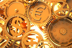 Fantasy golden clockwork with currency sign. Euro , dollar, yen, pound - gears working in global economics Stock Photos