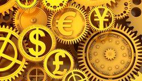 Fantasy golden clockwork with currency sign. Euro gear, dollar, yen, pound Royalty Free Stock Images