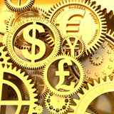 Fantasy golden clockwork with currency sign. Euro gear, dollar, yen, pound Royalty Free Stock Photos