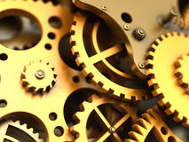 Fantasy golden clockwork. Industrial background Royalty Free Stock Image