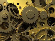 Fantasy golden clockwork. Industry background. Clock inside. Closeup golden clockwork.  Industrial 3d illustration Royalty Free Stock Photography