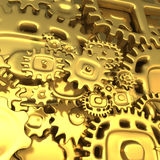 Fantasy golden clockwork made of cartoon curves gears. Fantasy golden clockwork made of cartoon gold curves gears. Luxury machinery. 3d illustration Stock Image