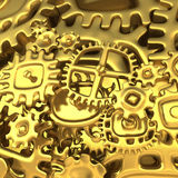 Fantasy golden clockwork made of cartoon curves gears. Luxury machinery. 3d illustration Stock Photos