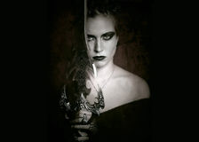 Fantasy gothic art. Portrait of gothic woman with sword Royalty Free Stock Images