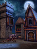 Fantasy granary at night Stock Image