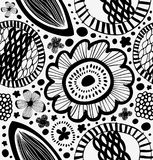 Fantasy graphic pattern in scandinavian style. Abstract background with stylized flowers. Royalty Free Stock Images
