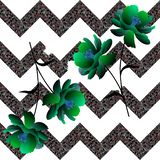 Fantasy green flowers on collapsing zigzag background. Seamless unusual pattern in vector.  stock illustration