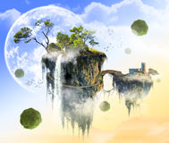 Fantasy green island flying in weightlessness Royalty Free Stock Photo