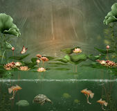 Fantasy green pond. With water lilies and fishes Stock Photography