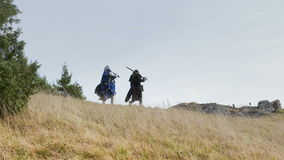 Fantasy Group Walking in Mountains stock footage