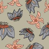 Fantasy hand-drawn floral seamless pattern. royalty free illustration
