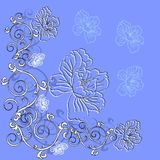 Fantasy hand drawn flowers Royalty Free Stock Image