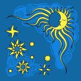Fantasy hand drawn night and moon. Vector Stock Images