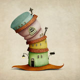 Fantasy hat house. Cheerful color  cartoon  fancy house in  form of  hat. Computer graphics Stock Images