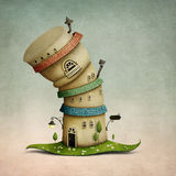 Fantasy hat house. Cheerful color  cartoon  fancy house in  form of  hat. Computer graphics Stock Photography