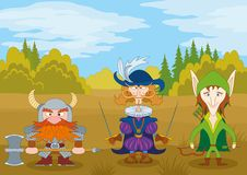 Fantasy heroes in forest. Fantasy brave heroes: elf archer, count fencer and dwarf warrior standing in forest, funny comic cartoon characters Royalty Free Stock Images