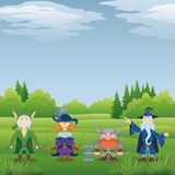 Fantasy heroes in forest Royalty Free Stock Image