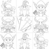 Fantasy heroes, set avatar, contour Royalty Free Stock Images