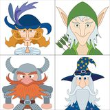 Fantasy heroes, set avatars Stock Photo