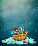 Christmas gift basket. Fantasy Holiday greeting card for Christmas with gift basket. Computer graphics vector illustration