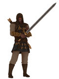 Fantasy hooded assassin with greatsword Stock Images