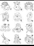 Fantasy horoscope zodiac signs Stock Photos
