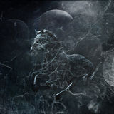 Fantasy horse. Combination of photo and textures stock photography