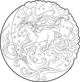 Fantasy horse running through the sky. Coloring page Royalty Free Stock Image