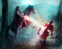 Fantasy horseman sorcery. Fantasy horseman in a hood fighting zombies in dark woods with sorcery and magic Royalty Free Stock Photo
