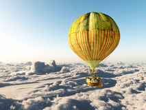 Fantasy hot air balloon above the clouds. Computer generated 3D illustration with a fantasy hot air balloon above the clouds Stock Image