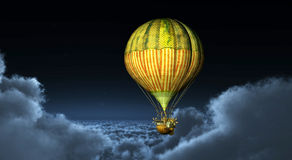 Fantasy hot air balloon above the clouds Stock Photos