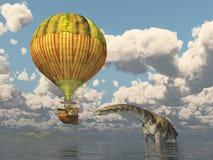Fantasy hot air balloon and the dinosaur Argentinosaurus. Computer generated 3D illustration with a fantasy hot air balloon and the dinosaur Argentinosaurus Royalty Free Stock Image