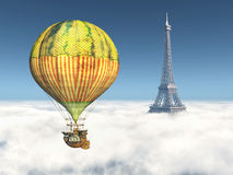 Fantasy Hot Air Balloon and Eiffel Tower Stock Photography