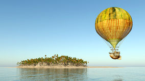Fantasy hot air balloon and island Stock Images