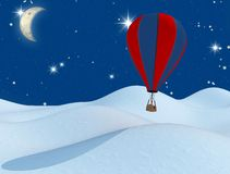 Fantasy hot-air balloon and the moon Royalty Free Stock Image