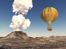Fantasy hot air balloon over a volcanic landscape Stock Photos