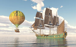 Fantasy hot air balloon and sailing ship. Computer generated 3D illustration with fantasy hot air balloon and sailing ship Royalty Free Stock Photo