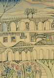 Fantasy house with arches and windows in magic forest. Hand drawn illustration Stock Images