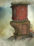 Fantasy house. Fantasy fairy house 3D rendering in the sky Royalty Free Stock Photography